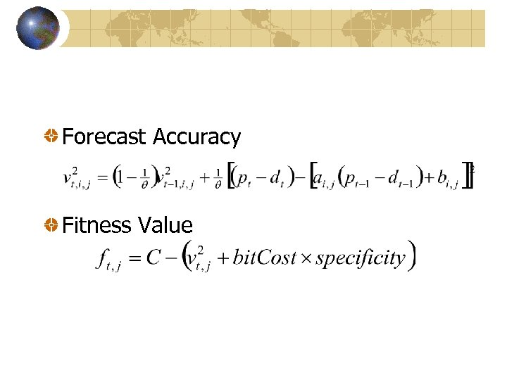 Forecast Accuracy Fitness Value