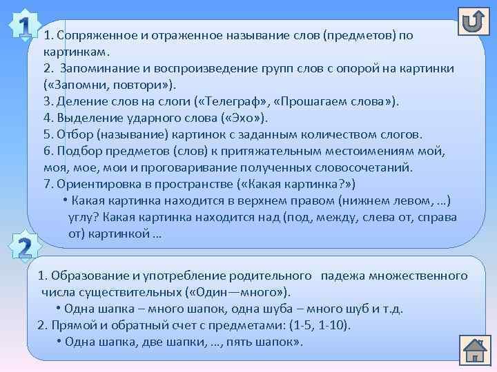 1. Сопряженное и отраженное называние слов (предметов) по картинкам. 2. Запоминание и воспроизведение групп