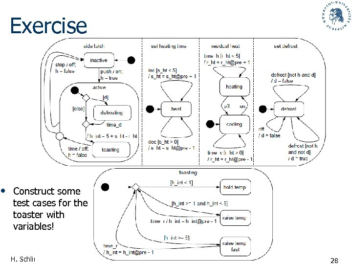 Exercise • Construct some test cases for the toaster with variables! H. Schlingloff, Software-Qualitätssicherung