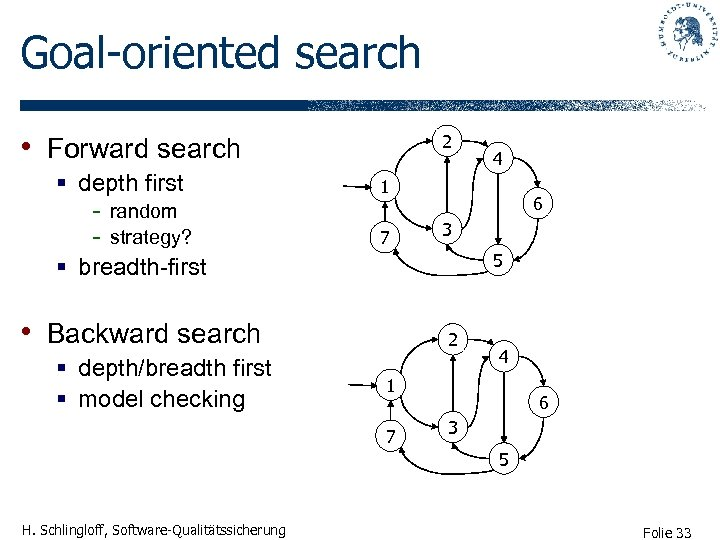 Goal-oriented search • Forward search § depth first - random - strategy? § breadth-first