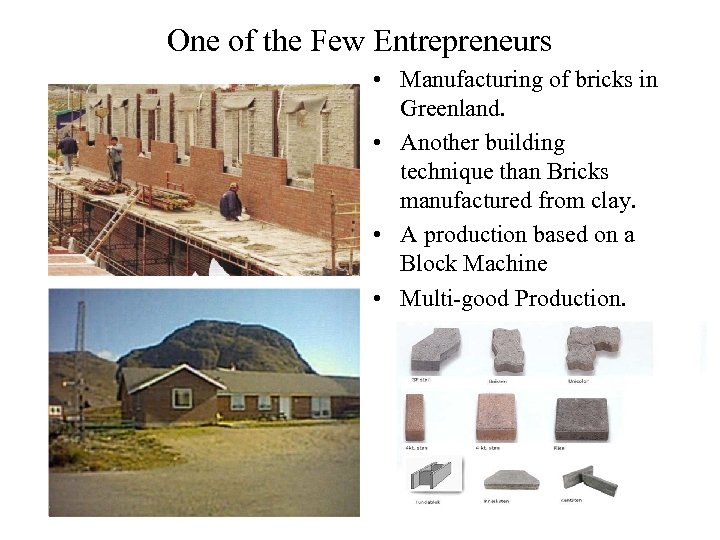 One of the Few Entrepreneurs • Manufacturing of bricks in Greenland. • Another building