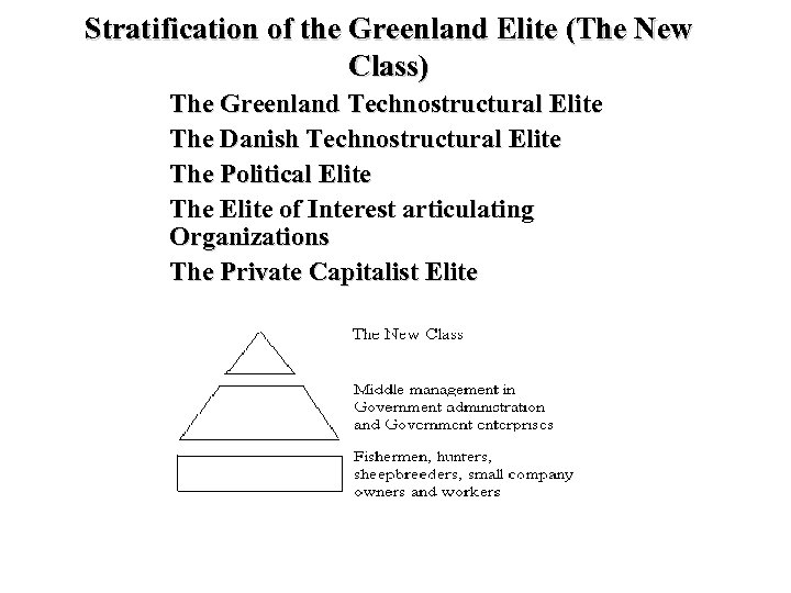 Stratification of the Greenland Elite (The New Class) The Greenland Technostructural Elite The Danish