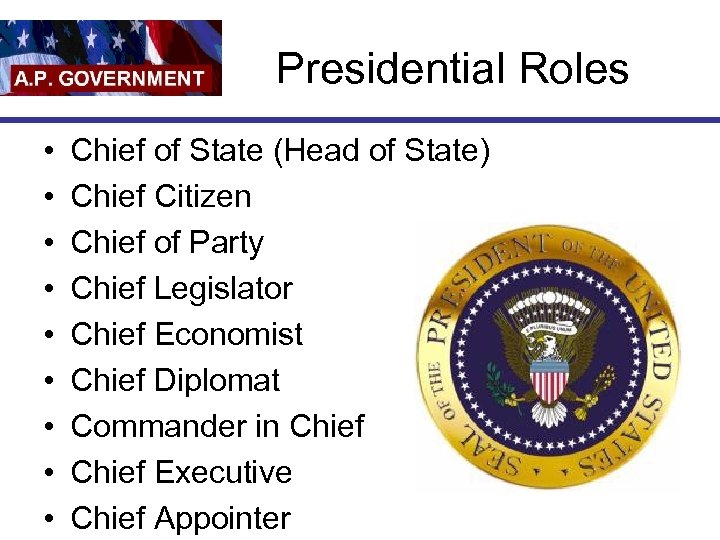 Presidential Roles • • • Chief of State (Head of State) Chief Citizen Chief