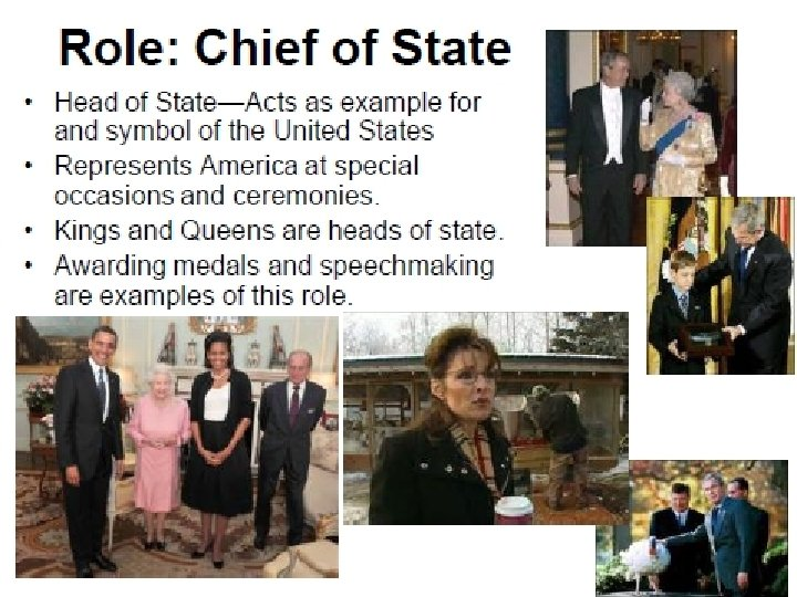 • Role: Chief of State • • Head of State—Acts as example for