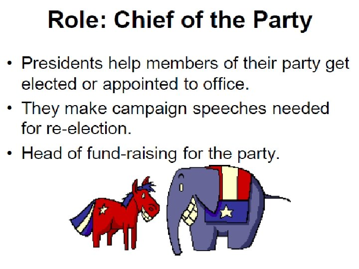 • Role: Chief of the Party • • Presidents help members of their