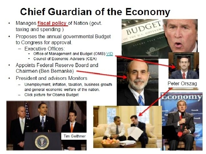 Chief Guardian of the Economy • Manages fiscal policy of Nation (govt. taxing and