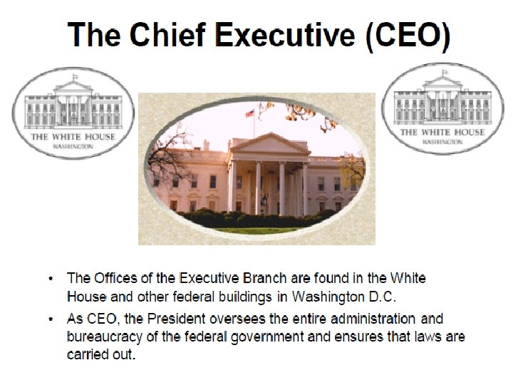 The Chief Executive (CEO) • • The Offices of the Executive Branch are found