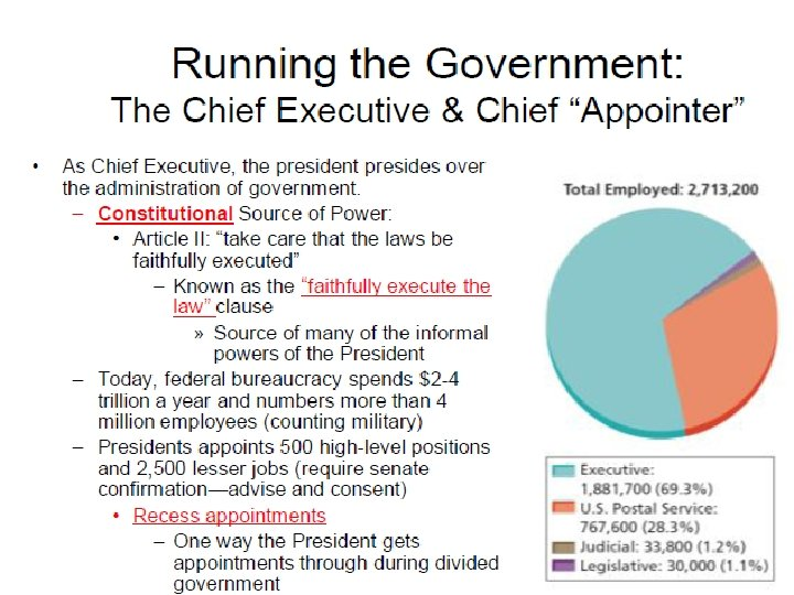 Running the Government: The Chief Executive & Chief ―Appointer‖ • • As Chief Executive,