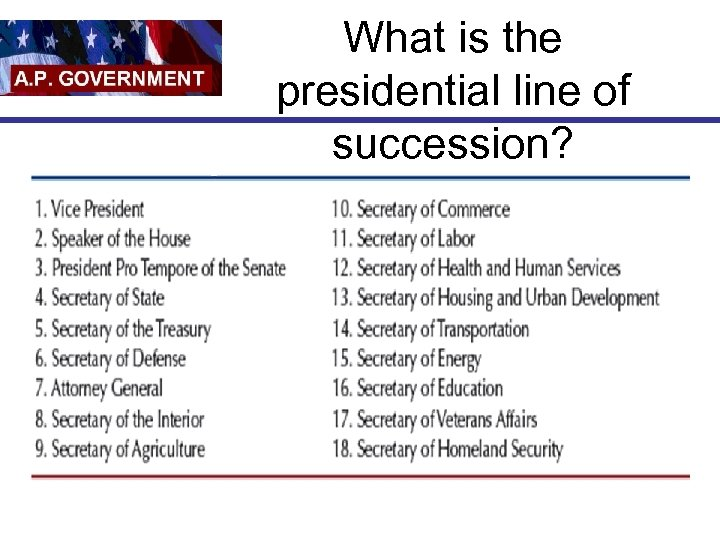 What is the presidential line of succession?