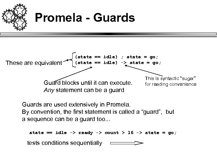 Promela - Guards These are equivalent (state == idle) ; state = go; (state