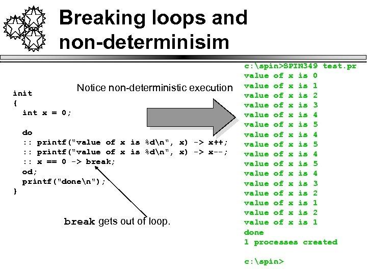 Breaking loops and non-determinisim init { int x = 0; Notice non-deterministic execution do