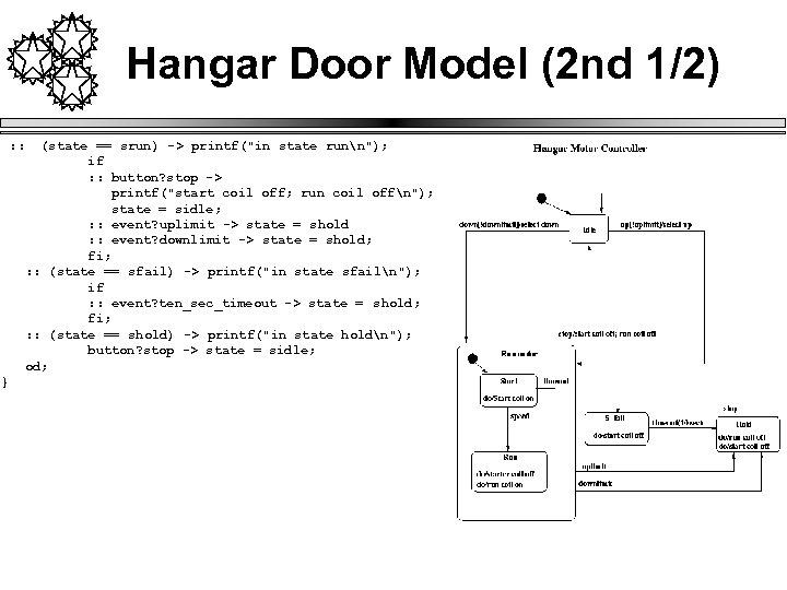 Hangar Door Model (2 nd 1/2) : : (state == srun) -> printf(