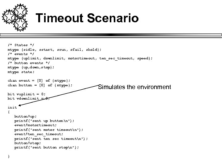 Timeout Scenario /* States */ mtype {sidle, sstart, srun, sfail, shold}; /* events */