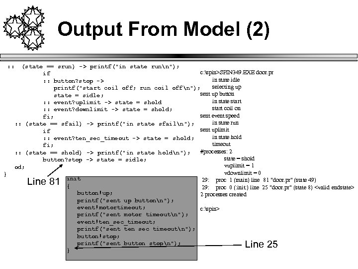 Output From Model (2) : : } (state == srun) -> printf(