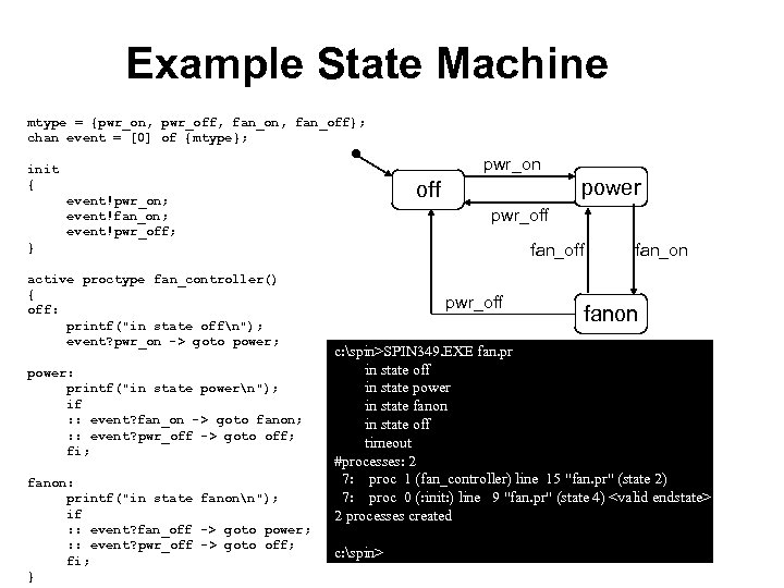 Example State Machine mtype = {pwr_on, pwr_off, fan_on, fan_off}; chan event = [0] of