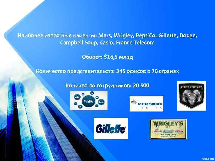 Наиболее известные клиенты: Mars, Wrigley, Pepsi. Co, Gillette, Dodge, Campbell Soup, Casio, France Telecom