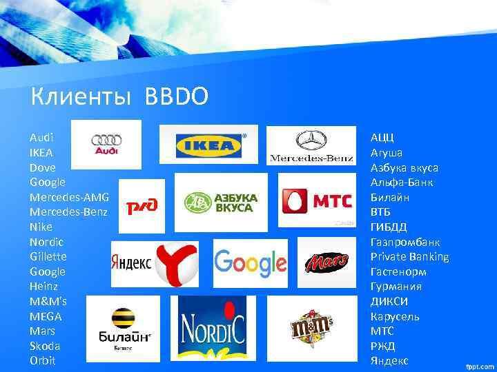 Клиенты BBDO Audi IKEA Dove Google Mercedes-AMG Mercedes-Benz Nike Nordic Gillette Google Heinz M&M's