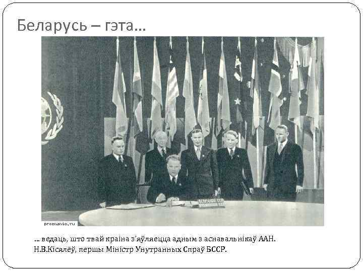 Беларусь – гэта… … ведаць, што твай краіна з'яўляецца адным з аснавальнікаў ААН. Н.