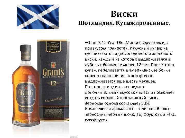 Виски Шотландия. Купажированные. • Grant's 12 Year Old. Мягкий, фруктовый, с привкусом пряностей. Искусный