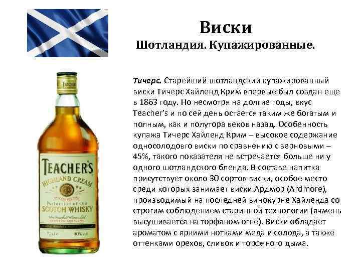 Виски Шотландия. Купажированные. Тичерс. Старейший шотландский купажированный виски Тичерс Хайленд Крим впервые был создан