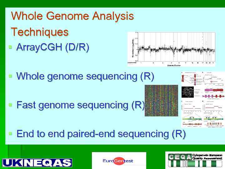 Whole Genome Analysis Techniques § Array. CGH (D/R) § Whole genome sequencing (R) §