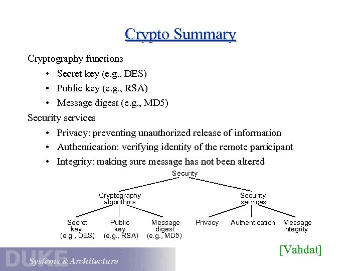 Crypto Summary Cryptography functions • Secret key (e. g. , DES) • Public key
