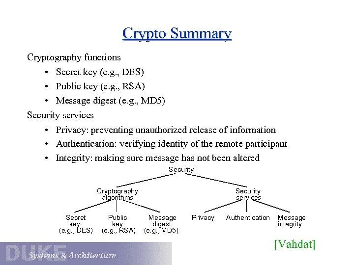 Crypto Summary Cryptography functions • Secret key (e. g. , DES) • Public key