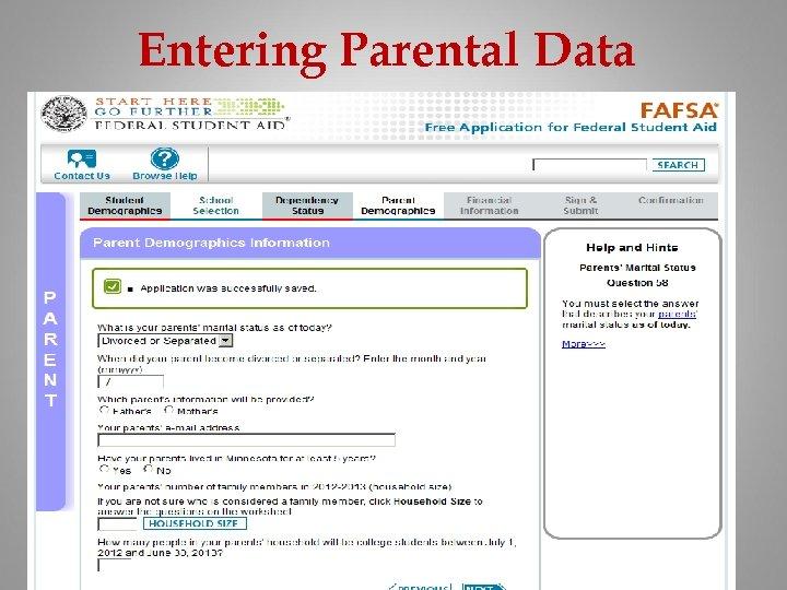 Entering Parental Data