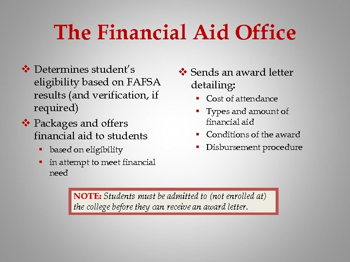 The Financial Aid Office v Determines student's eligibility based on FAFSA results (and verification,