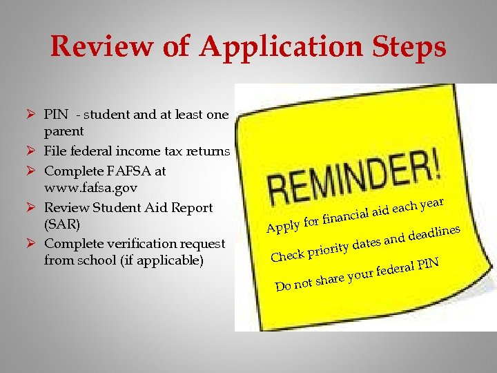 Review of Application Steps Ø PIN - student and at least one parent Ø