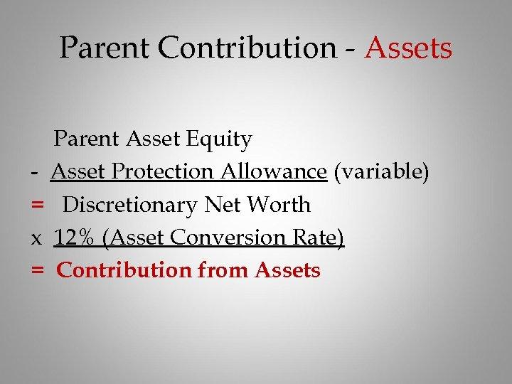 Parent Contribution - Assets Parent Asset Equity - Asset Protection Allowance (variable) = Discretionary