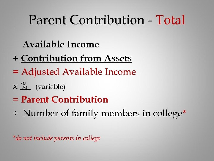 Parent Contribution - Total Available Income + Contribution from Assets = Adjusted Available Income