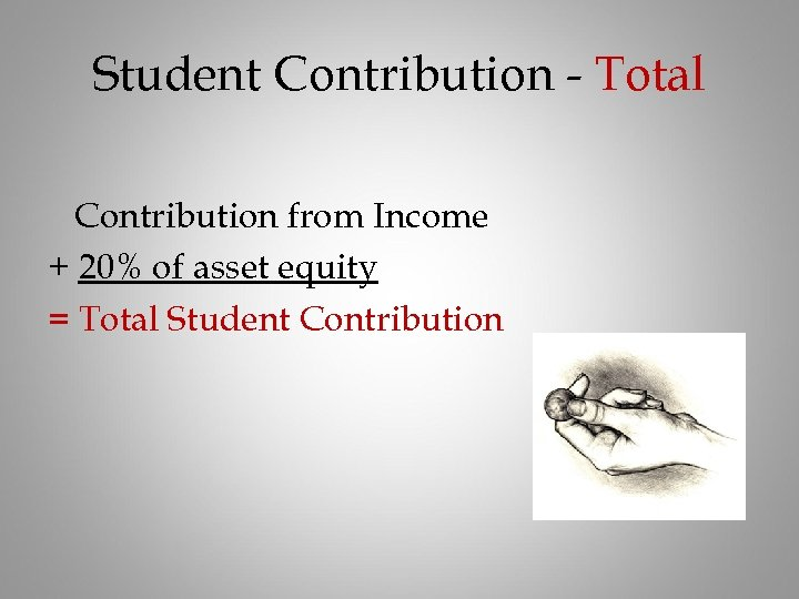 Student Contribution - Total Contribution from Income + 20% of asset equity = Total