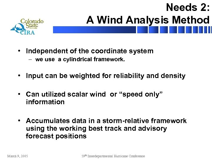 Needs 2: A Wind Analysis Method • Independent of the coordinate system – we