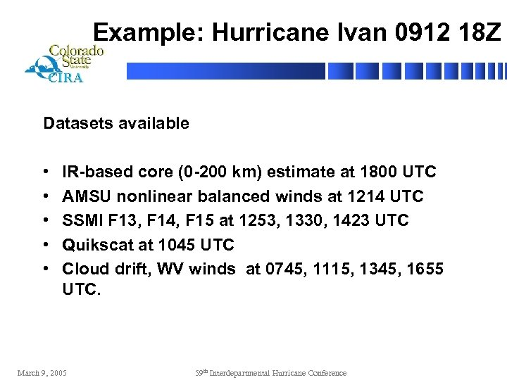 Example: Hurricane Ivan 0912 18 Z Datasets available • • • IR-based core (0