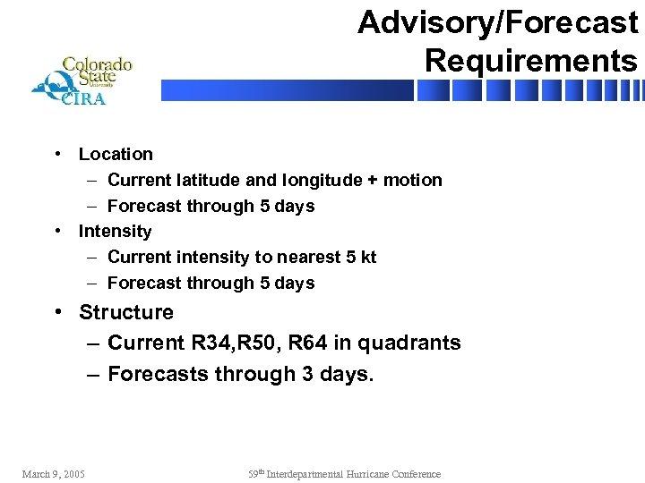 Advisory/Forecast Requirements • Location – Current latitude and longitude + motion – Forecast through