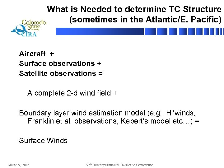 What is Needed to determine TC Structure (sometimes in the Atlantic/E. Pacific) Aircraft +