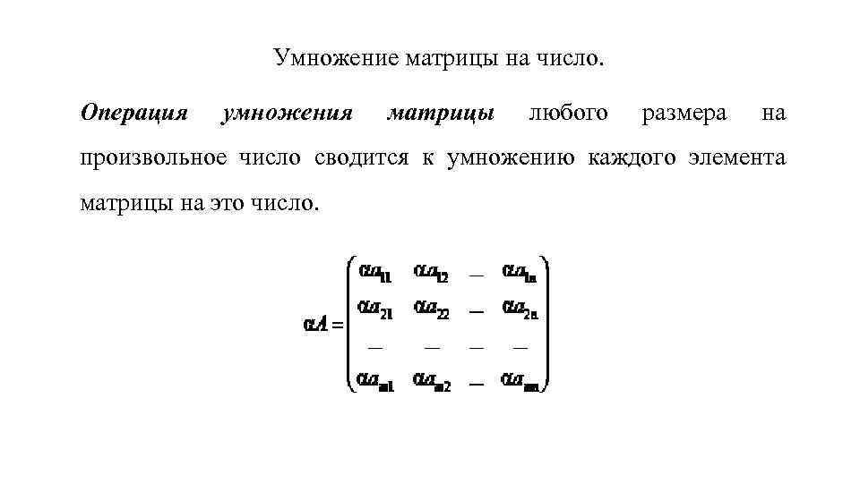 Умножение матрицы на число. Операция умножения матрицы любого размера на произвольное число сводится к