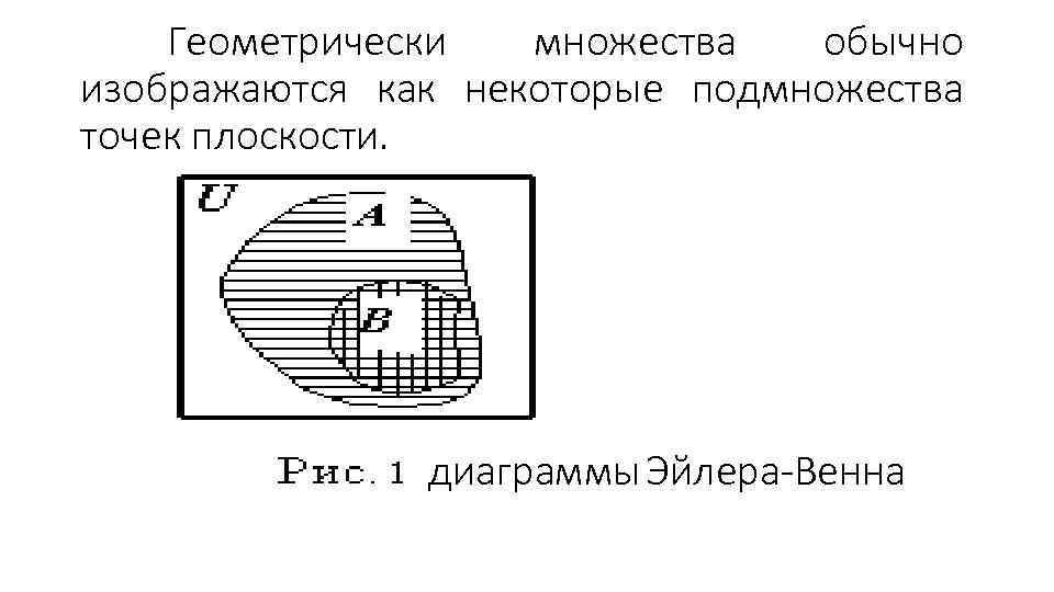 Геометрически множества обычно изображаются как некоторые подмножества точек плоскости. диаграммы Эйлера-Венна