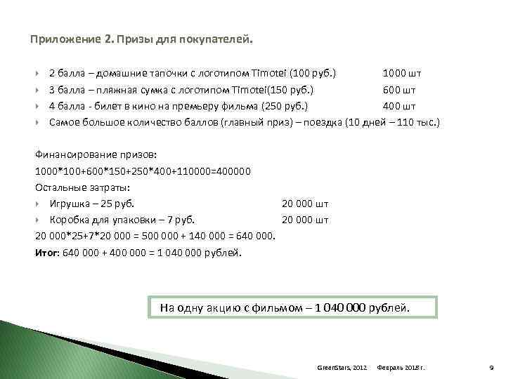 Приложение 2. Призы для покупателей. 2 балла – домашние тапочки с логотипом Timotei (100