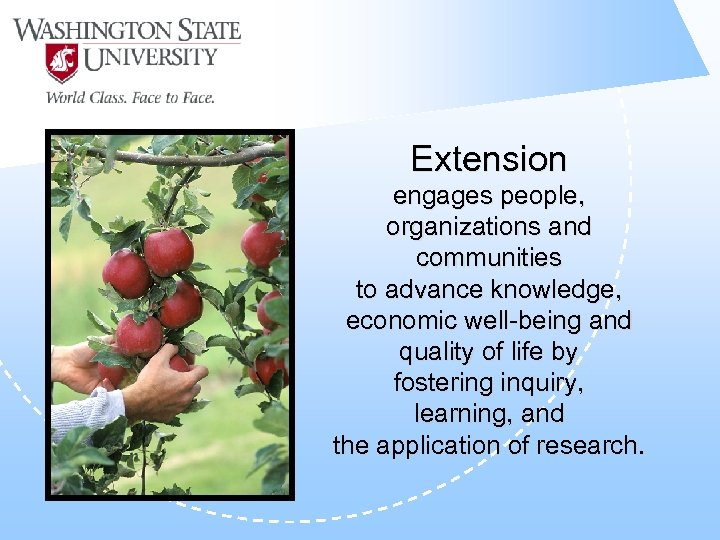 Extension engages people, organizations and communities to advance knowledge, economic well-being and quality