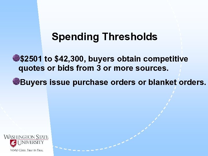 Spending Thresholds $2501 to $42, 300, buyers obtain competitive quotes or bids from 3