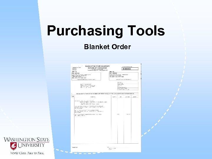 Purchasing Tools Blanket Order
