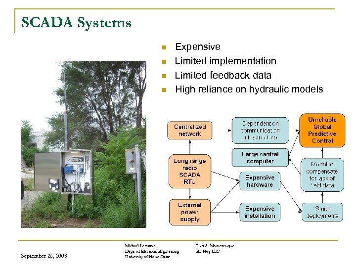 SCADA Systems n n September 26, 2008 Expensive Limited implementation Limited feedback data High