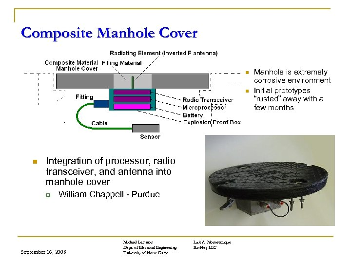 Composite Manhole Cover n n n Integration of processor, radio transceiver, and antenna into
