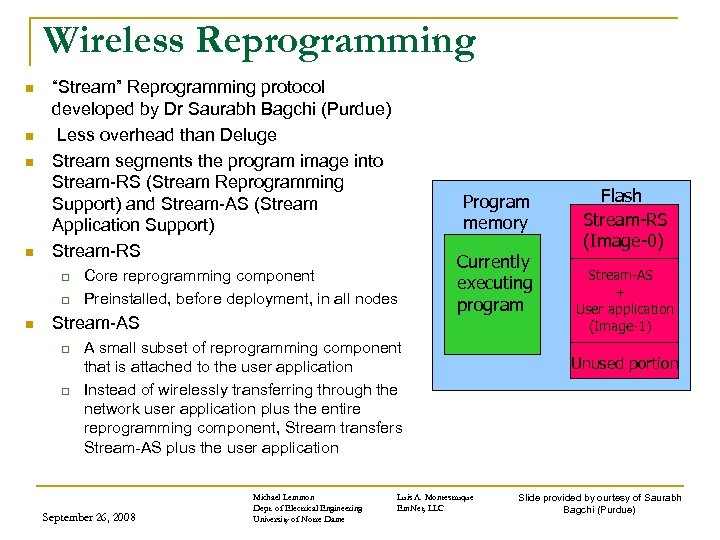 "Wireless Reprogramming n n ""Stream"" Reprogramming protocol developed by Dr Saurabh Bagchi (Purdue) Less"