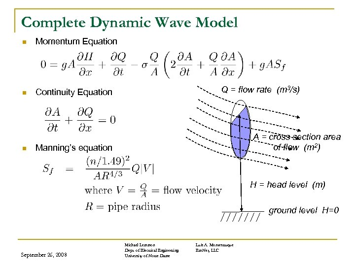 Complete Dynamic Wave Model n Momentum Equation n Continuity Equation n Q = flow
