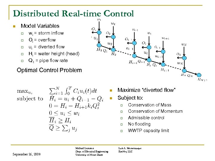 Distributed Real-time Control n Model Variables q q q wi = storm inflow Oi