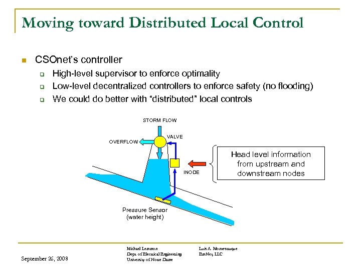 Moving toward Distributed Local Control n CSOnet's controller q q q High-level supervisor to