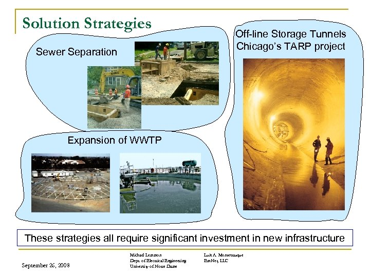 Solution Strategies Sewer Separation Off-line Storage Tunnels Chicago's TARP project Expansion of WWTP These